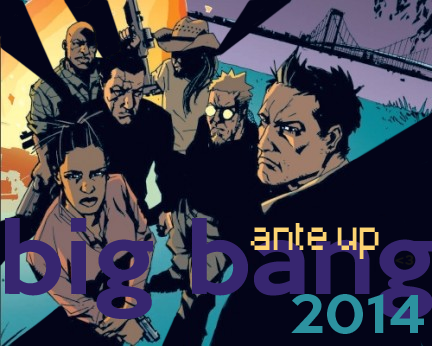 Ante_up's Loser Big Bang 2014 banner -- comic art of the team